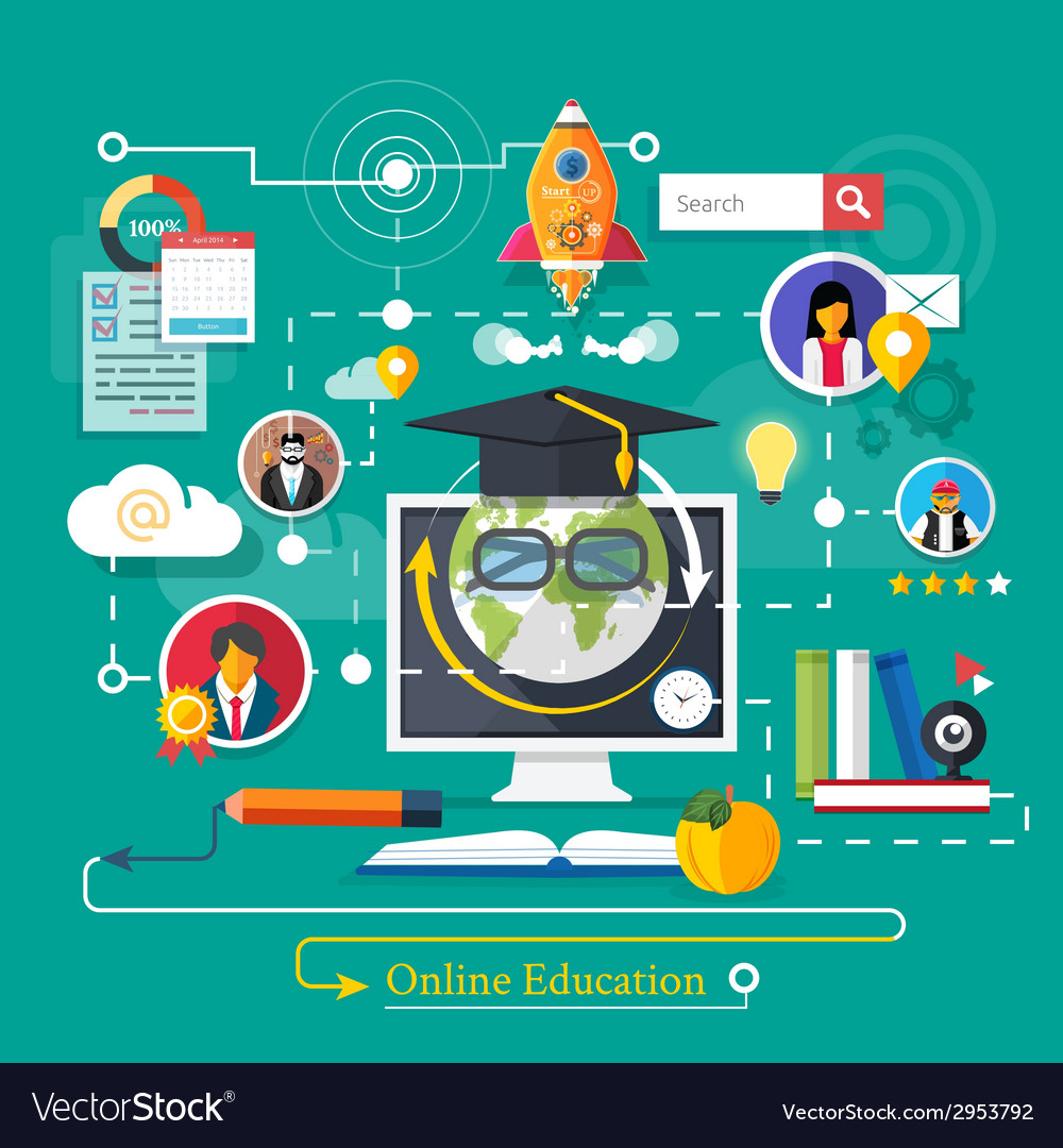Online professional education vector | Price: 1 Credit (USD $1)