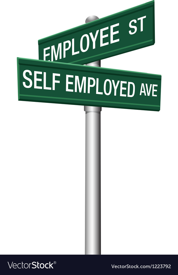 Self employed or employee street signs vector