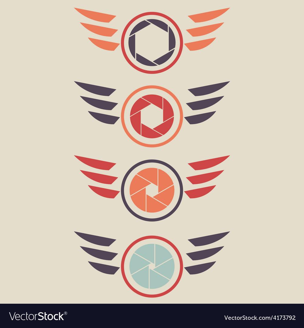 Shutter logo set wings vector