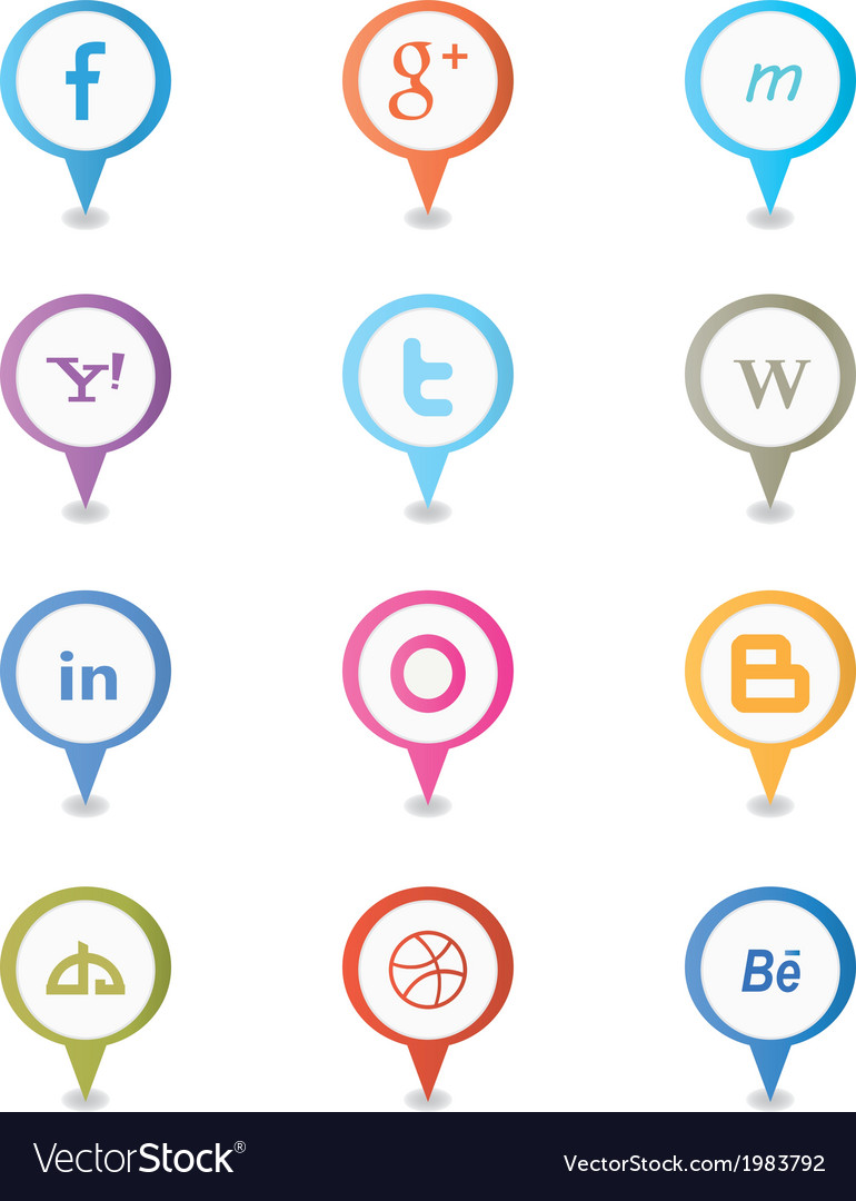 Social map pointer icons vector | Price: 1 Credit (USD $1)