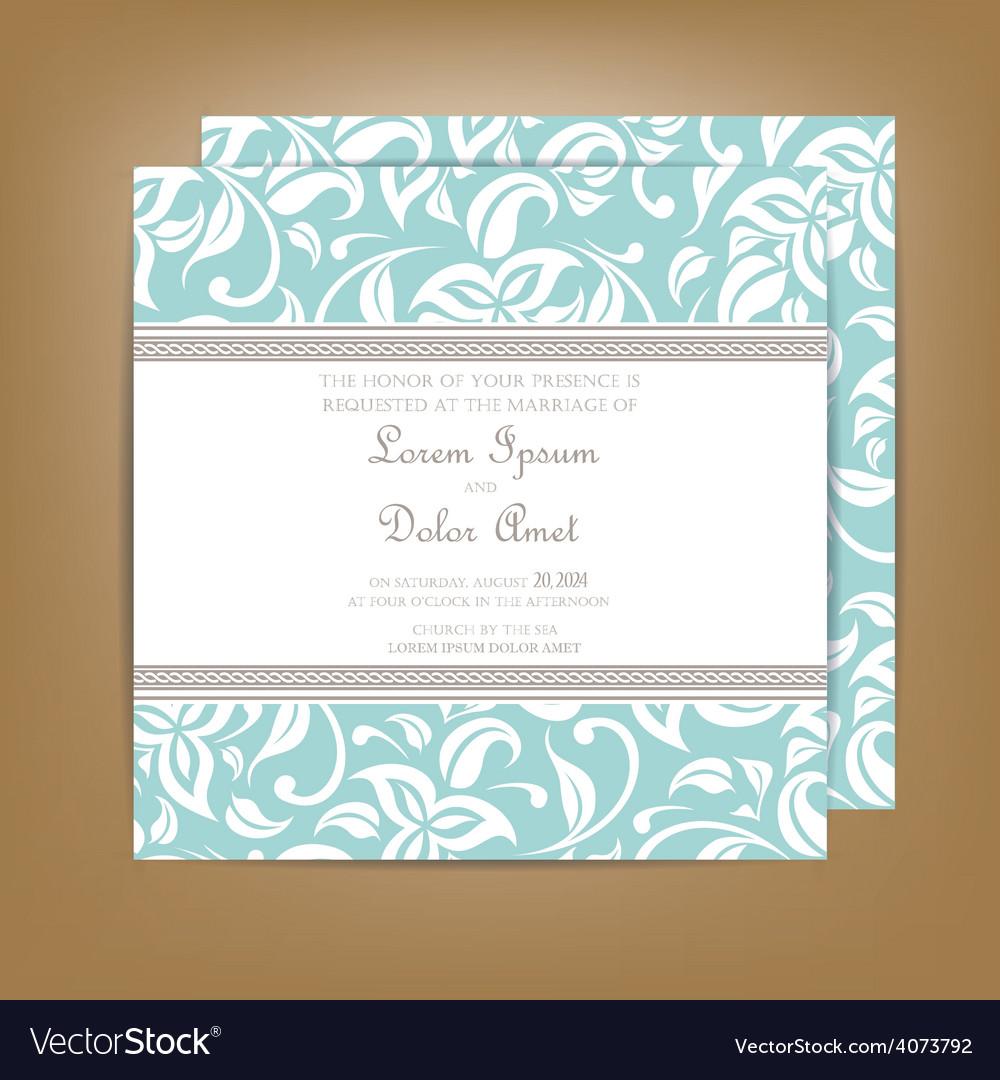 Wedding invitation blue vector | Price: 1 Credit (USD $1)