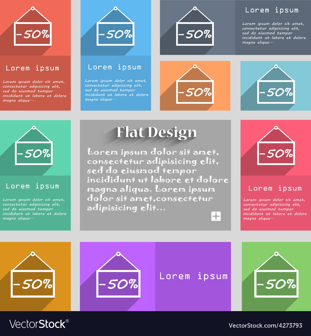 50 discount icon sign set of multicolored buttons vector | Price: 1 Credit (USD $1)