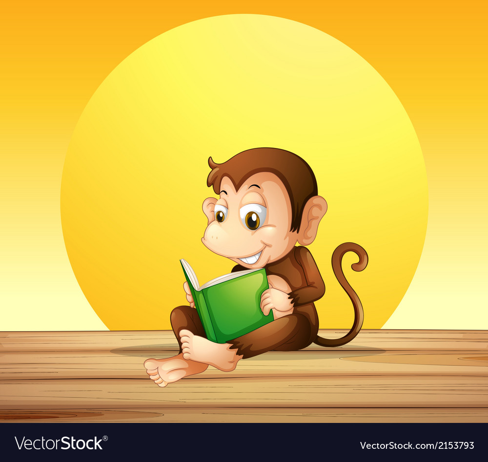 A monkey reading vector | Price: 1 Credit (USD $1)