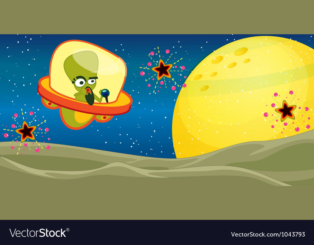 Alien cartoon background vector | Price: 1 Credit (USD $1)