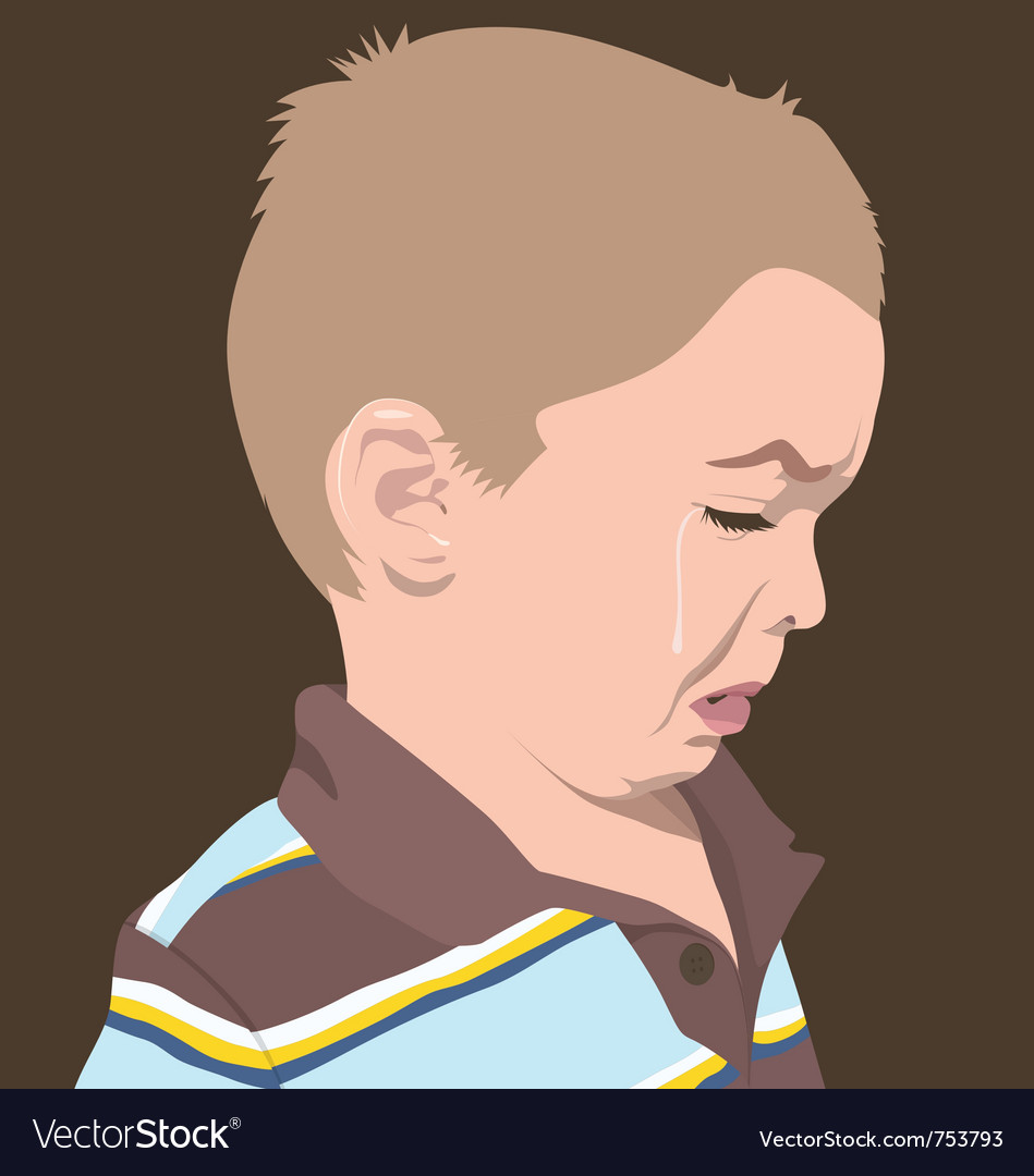 Boy crying vector | Price: 1 Credit (USD $1)