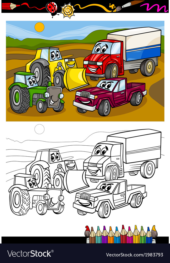 Cartoon cars and trucks for coloring book vector | Price: 1 Credit (USD $1)