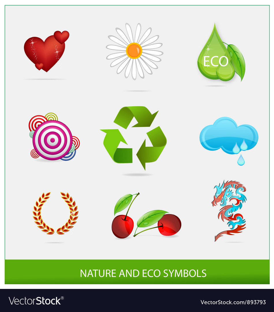 Glass ecology green symbols set isolated vector | Price: 3 Credit (USD $3)