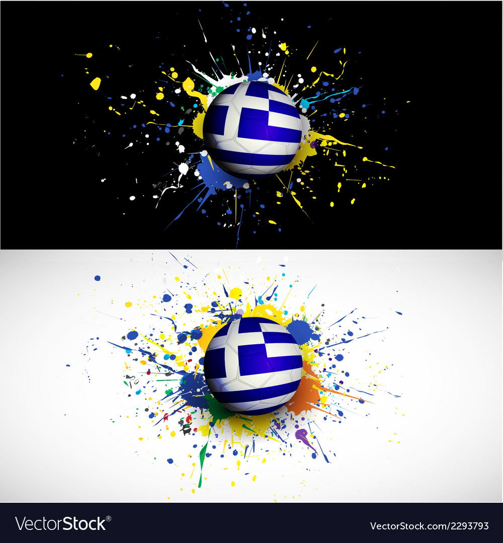 Greece flag with soccer ball dash on colorful vector | Price: 1 Credit (USD $1)