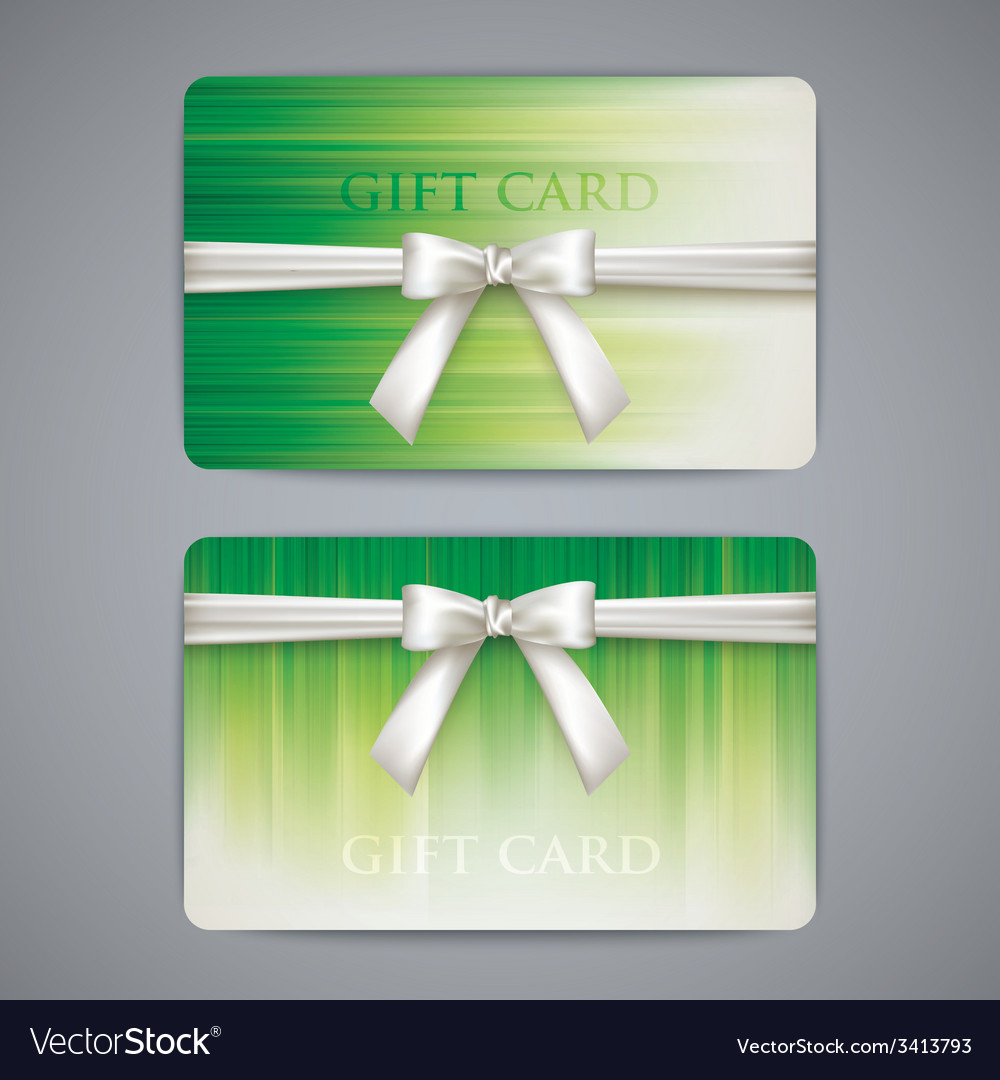 Green gift cards with white bows and ribbons vector