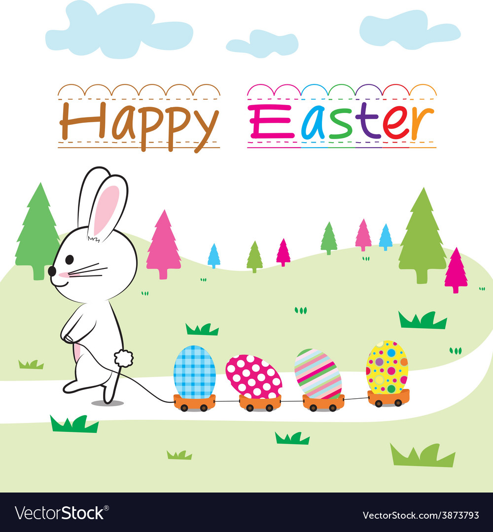Happy easter and bunny vector | Price: 1 Credit (USD $1)