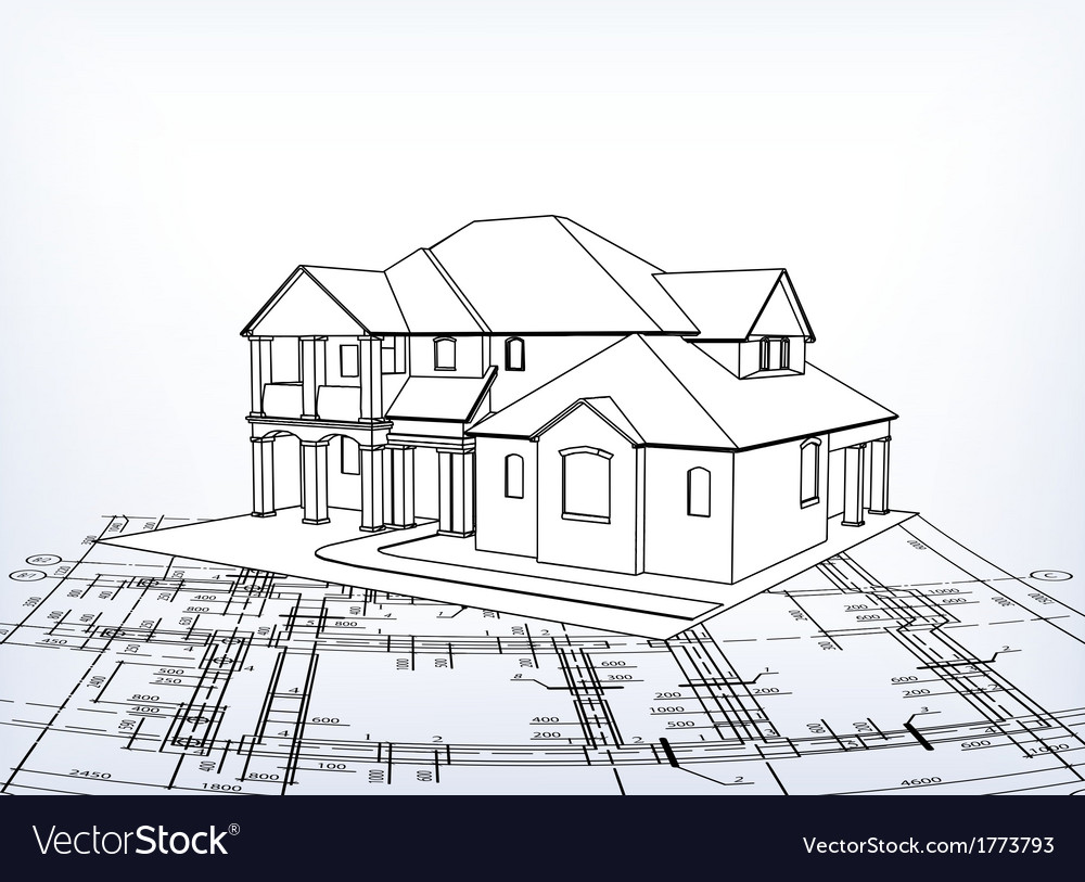 House technical draw vector   Price: 1 Credit (USD $1)