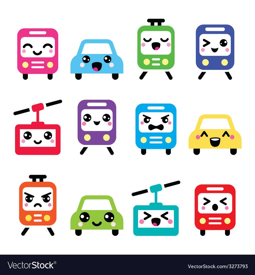 Kawaii cute icons - car bus train tram vector | Price: 1 Credit (USD $1)