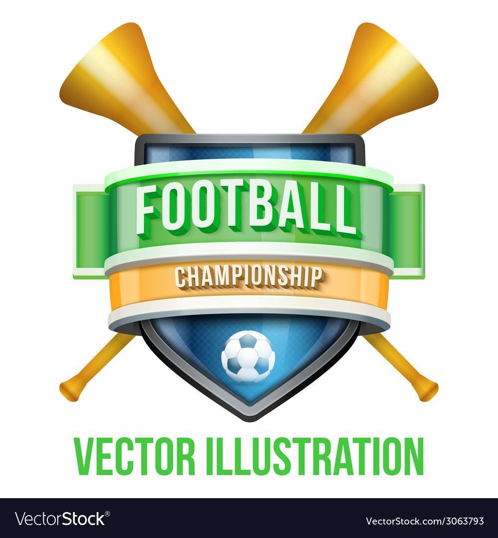 Label with vuvuzela for football sport competition vector | Price: 3 Credit (USD $3)