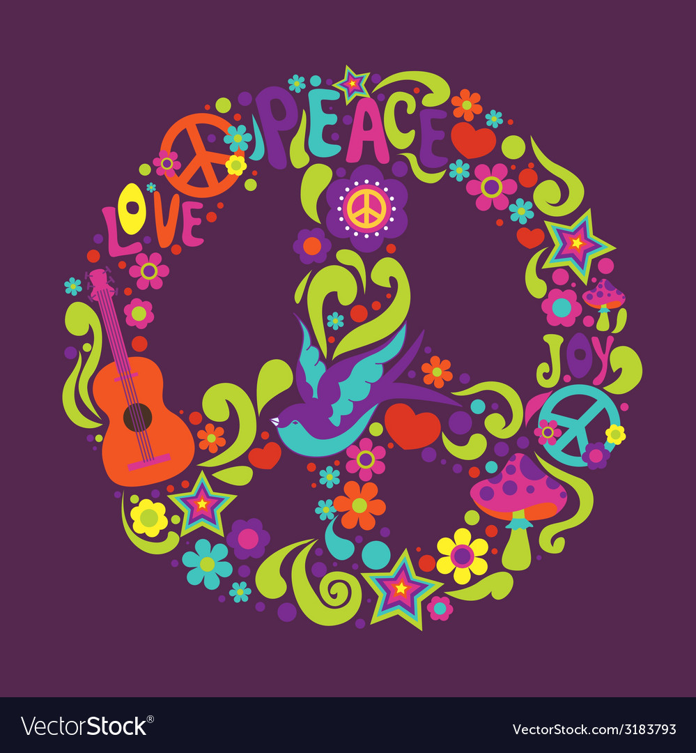 Psychedelic sign with many decorative elements and vector | Price: 1 Credit (USD $1)
