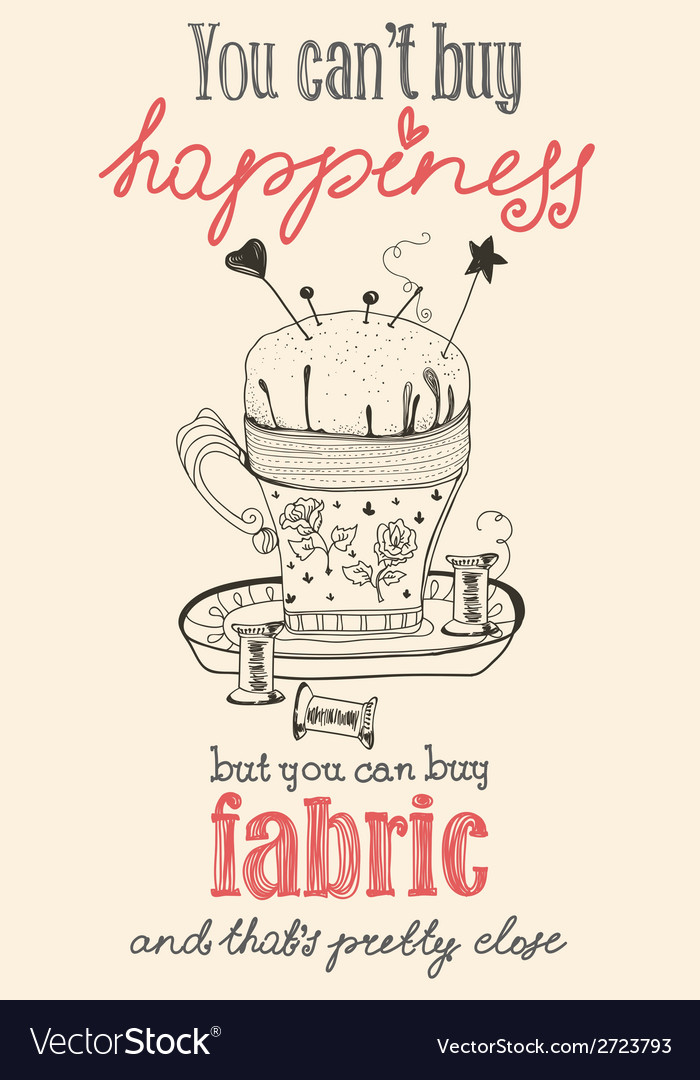 Vintage fashion and sewing poster with pin cushion vector | Price: 1 Credit (USD $1)