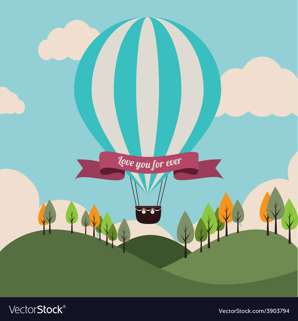 Air balloon over landscape background vector | Price: 1 Credit (USD $1)