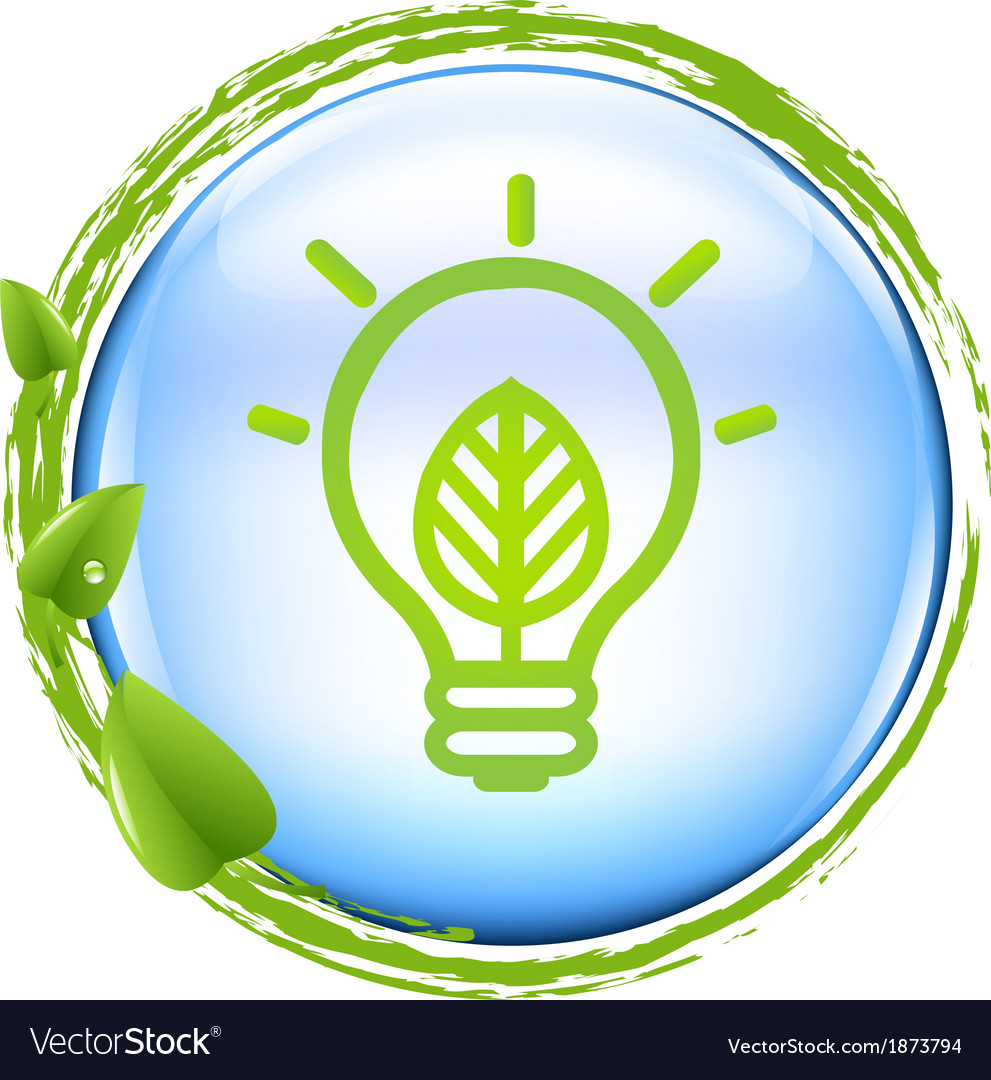 Blue ball and green eco lamp vector | Price: 1 Credit (USD $1)