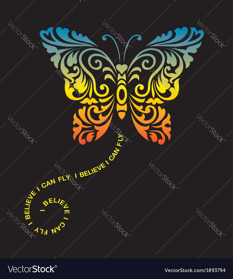 Butterfly floral ornament decoration vector | Price: 1 Credit (USD $1)