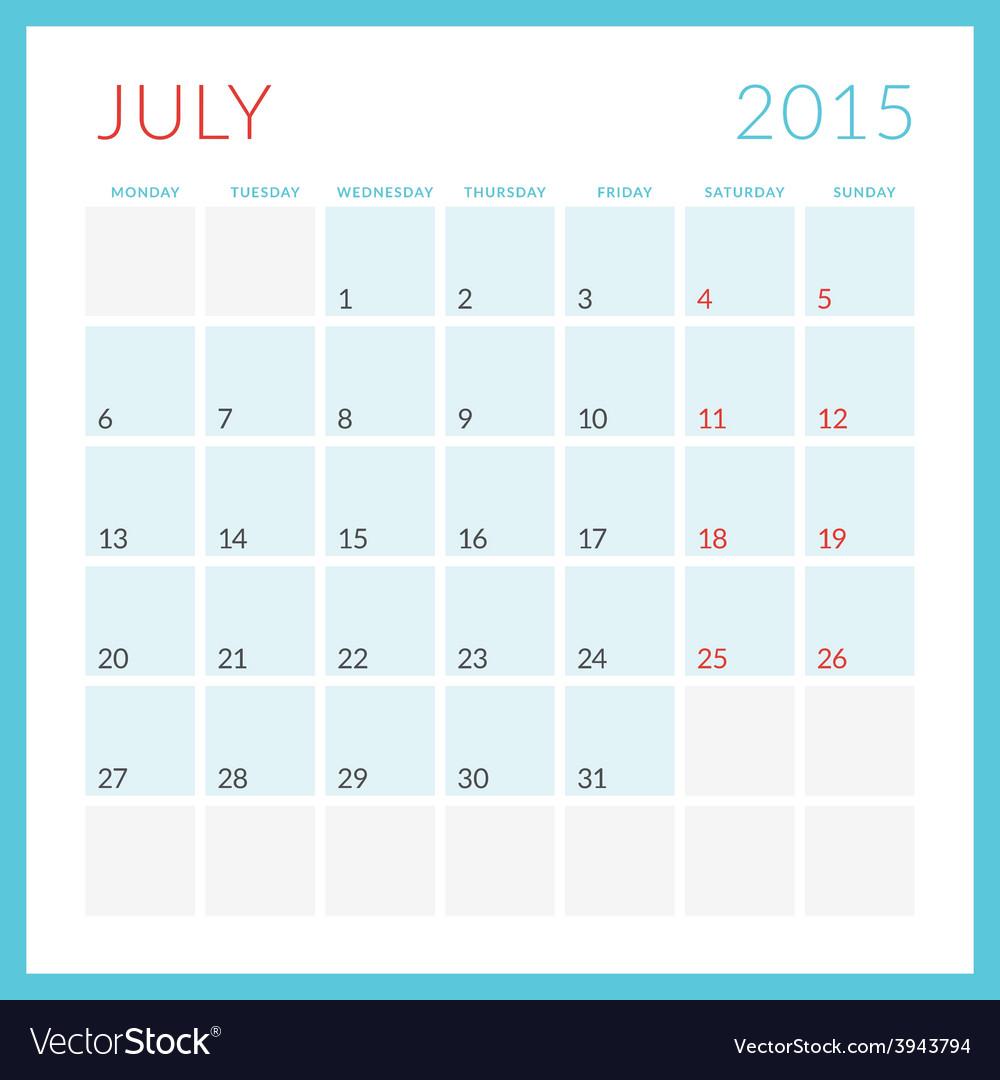 Calendar 2015 flat design template july week vector | Price: 1 Credit (USD $1)