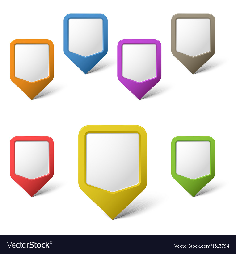 Colorful blank pointers on white background vector | Price: 1 Credit (USD $1)