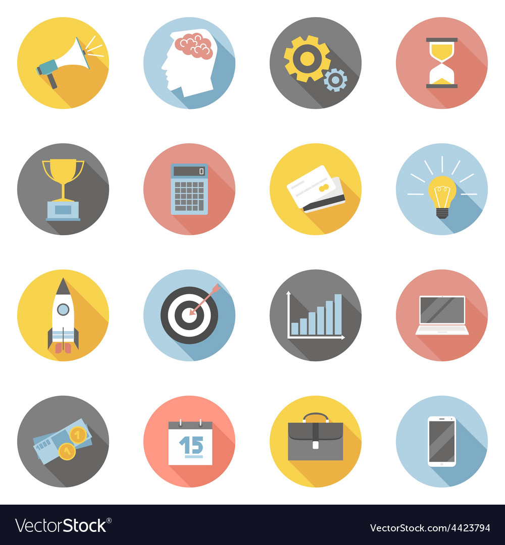 Colorful business icons flat set vector | Price: 1 Credit (USD $1)