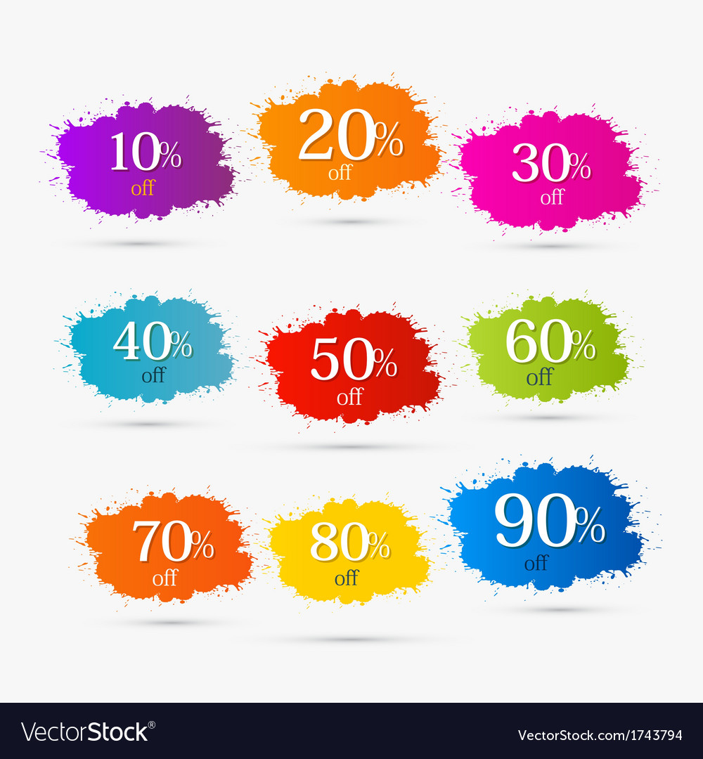 Colorful discount labels stains splashes vector | Price: 1 Credit (USD $1)