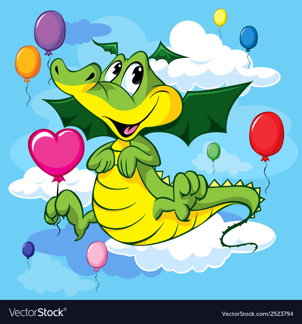 Dragon with balloon vector   Price: 1 Credit (USD $1)