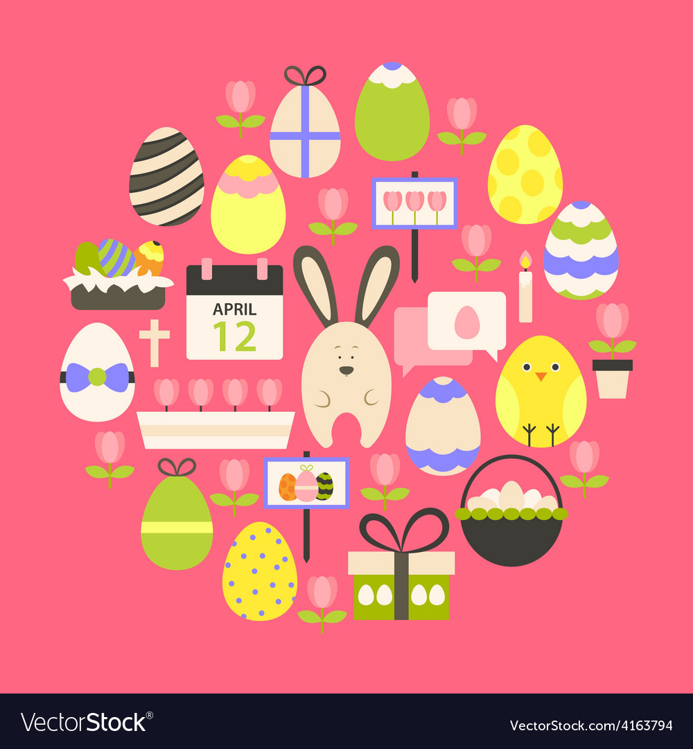 Easter holiday flat icons set over dark pink vector | Price: 1 Credit (USD $1)