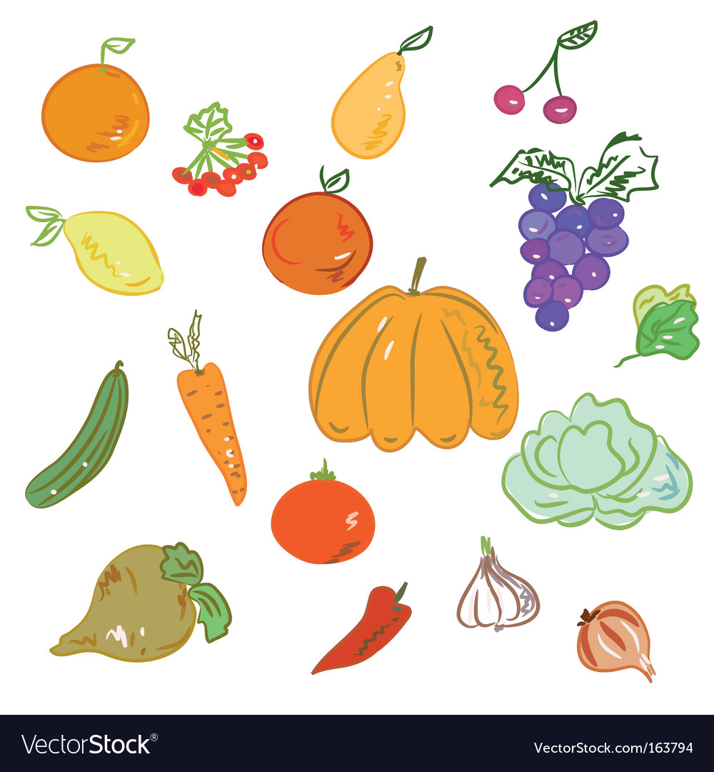 Hand-drawn fruits and vegetables vector | Price: 1 Credit (USD $1)