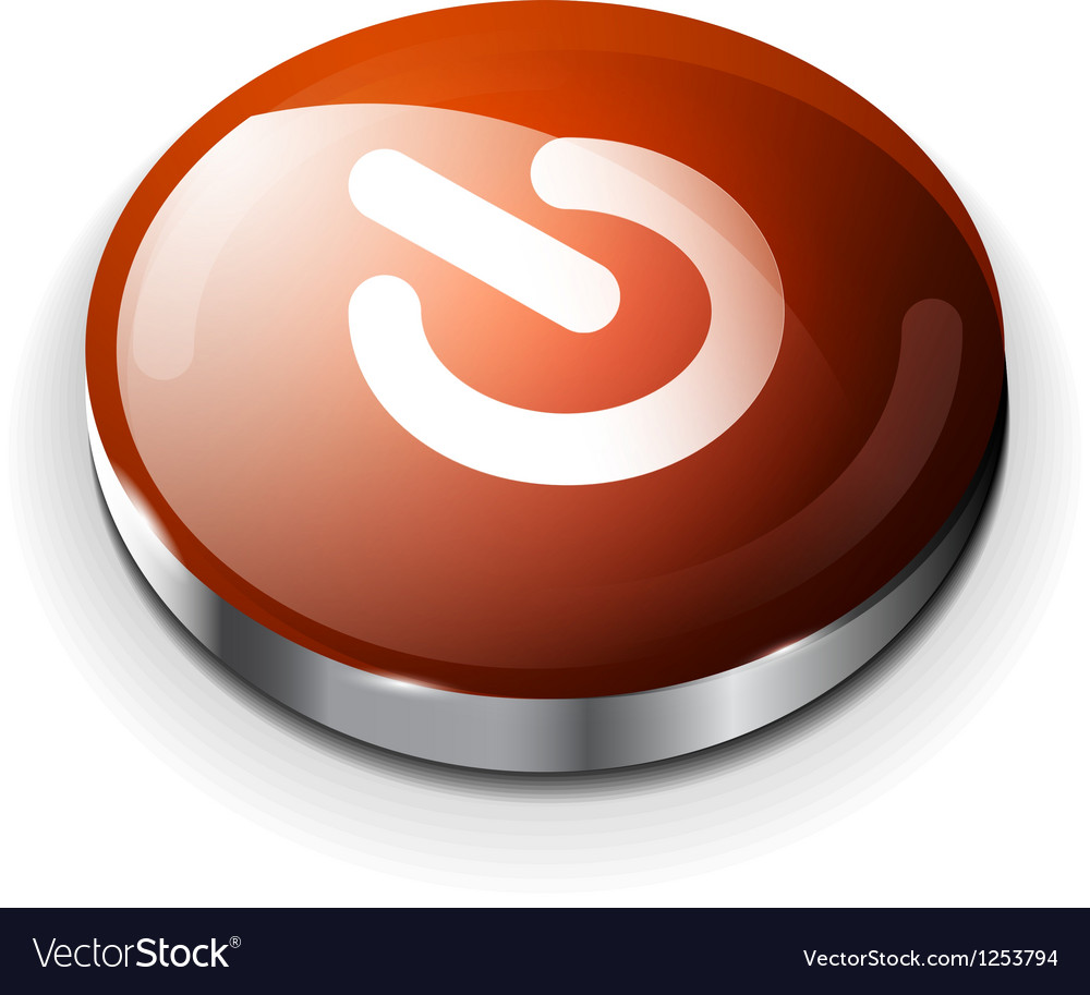 Red glossy power button icon vector | Price: 1 Credit (USD $1)
