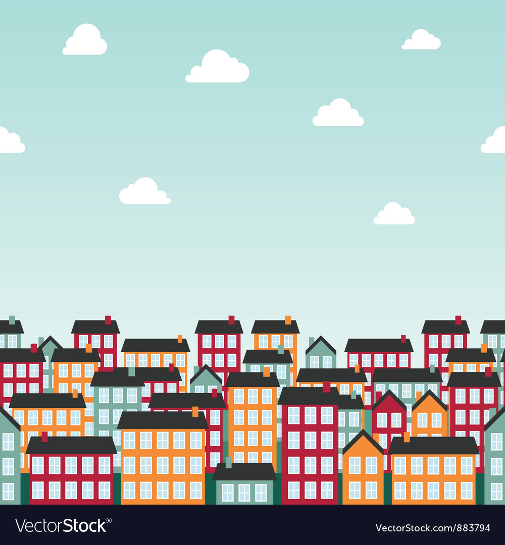 Seamless background pattern with colorful town vector | Price: 1 Credit (USD $1)