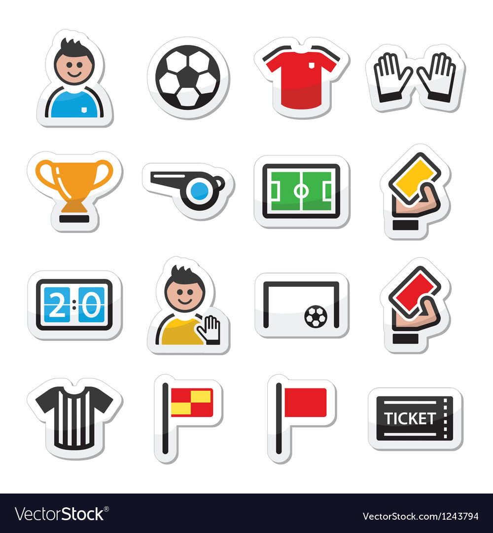 Soccer football icons set vector | Price: 1 Credit (USD $1)