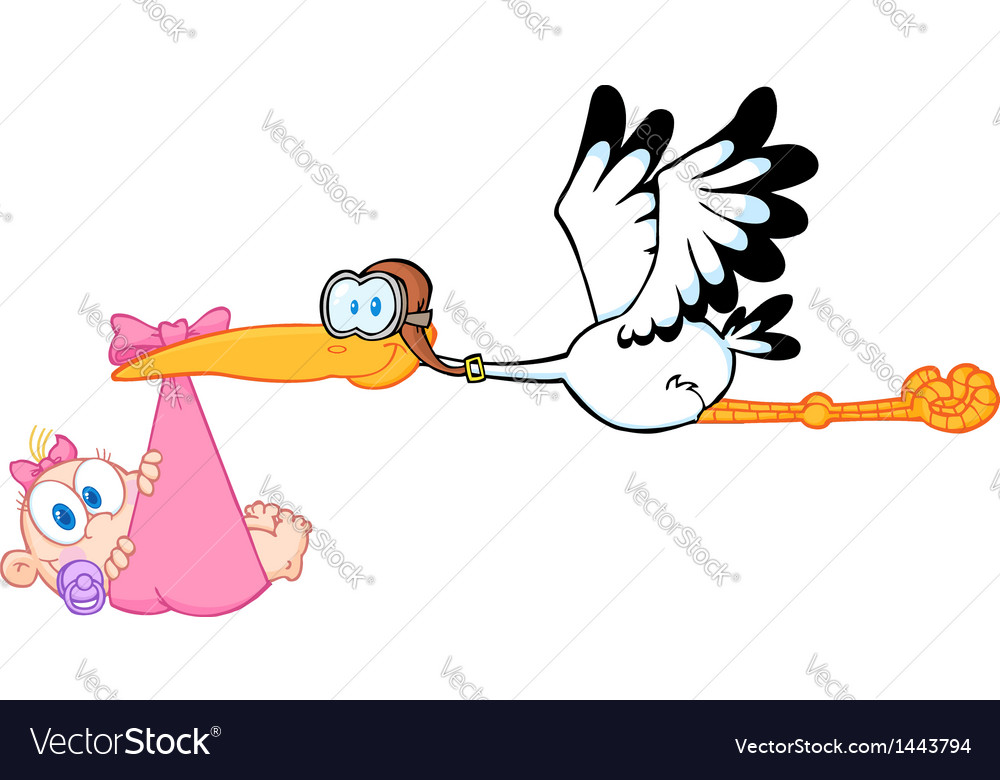 Stork delivering a newborn baby girl vector | Price: 1 Credit (USD $1)
