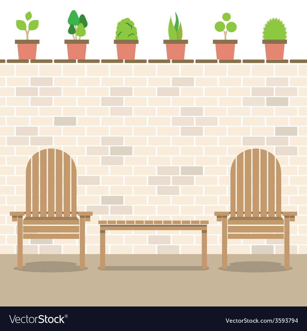 Wooden garden chairs with table and pot plants vector | Price: 1 Credit (USD $1)