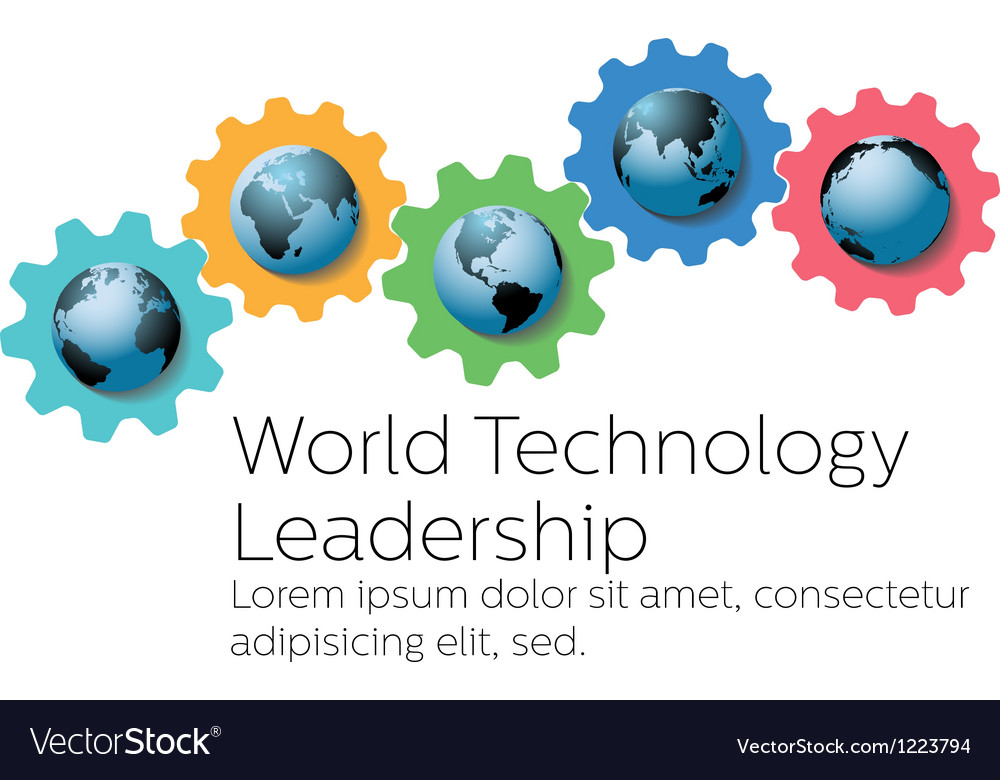 World technology global leader gears vector | Price: 1 Credit (USD $1)