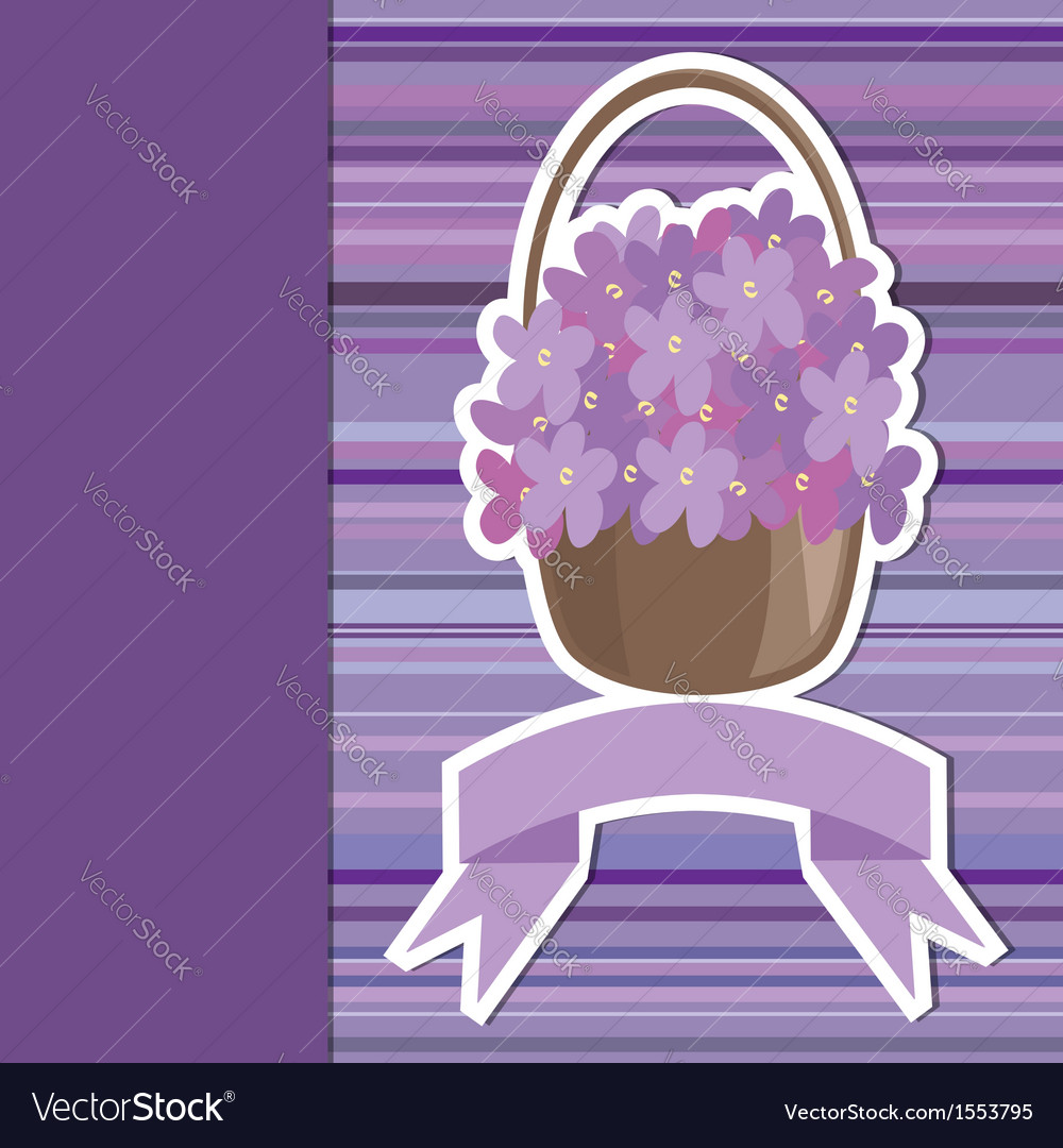 Card with flower basket and banner vector | Price: 1 Credit (USD $1)