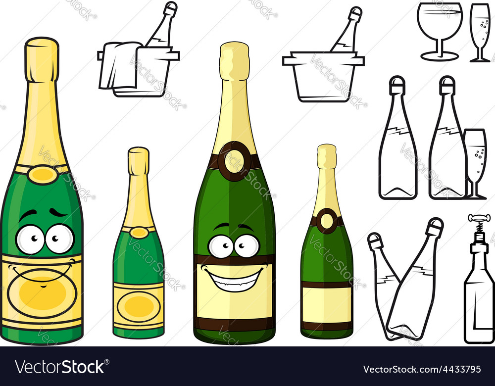 Champagne bottles cartoon characters and icons vector | Price: 1 Credit (USD $1)