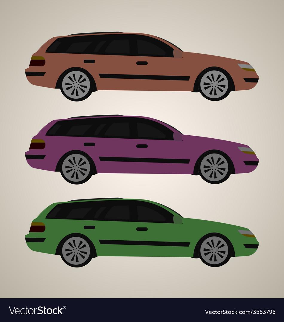 Flat family car 1 vector | Price: 1 Credit (USD $1)