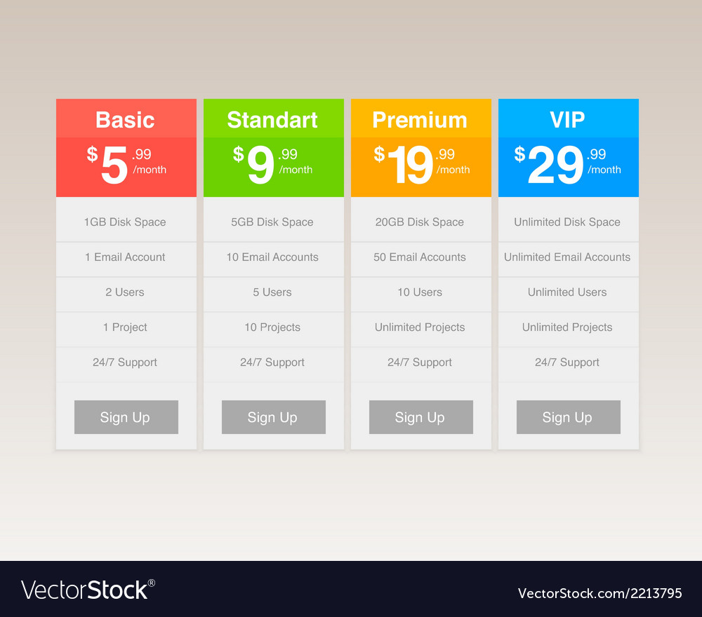 Four pricing plan layouts vector | Price: 1 Credit (USD $1)