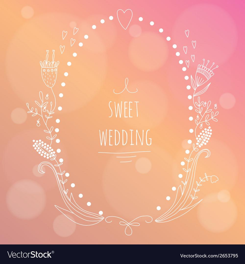 Hand drawn wedding invitation vector | Price: 1 Credit (USD $1)