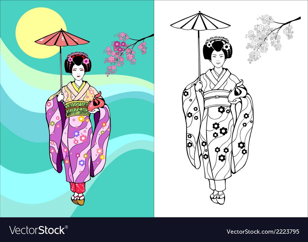 Japanese girl geisha with umbrella vector | Price: 1 Credit (USD $1)