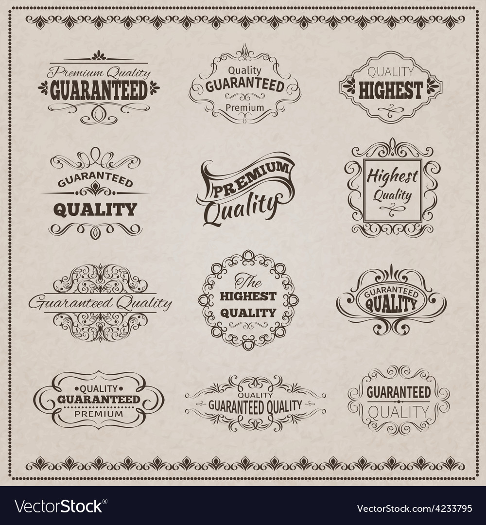 Quality emblems set vector | Price: 1 Credit (USD $1)