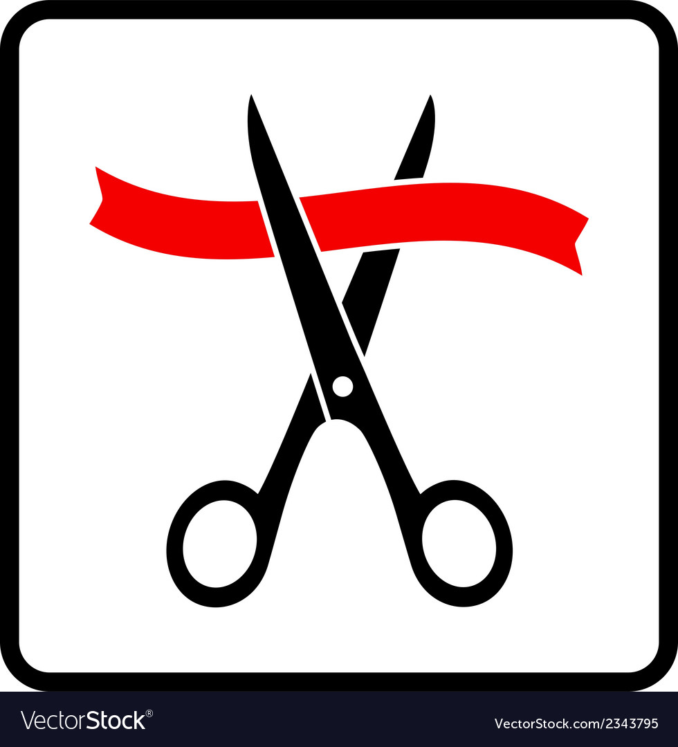 Scissors cutting red ribbon vector | Price: 1 Credit (USD $1)