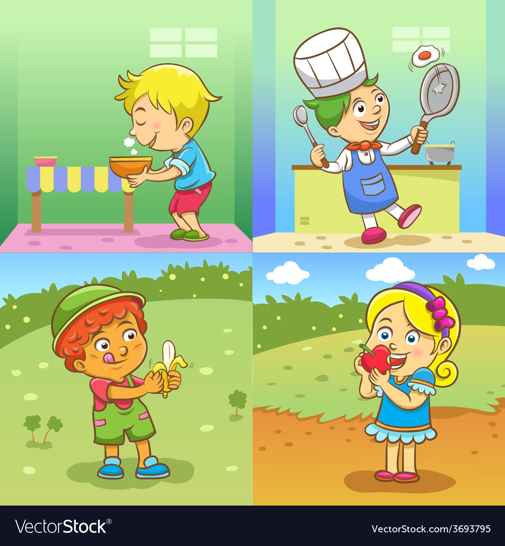 Set of child activities cartoon vector | Price: 3 Credit (USD $3)