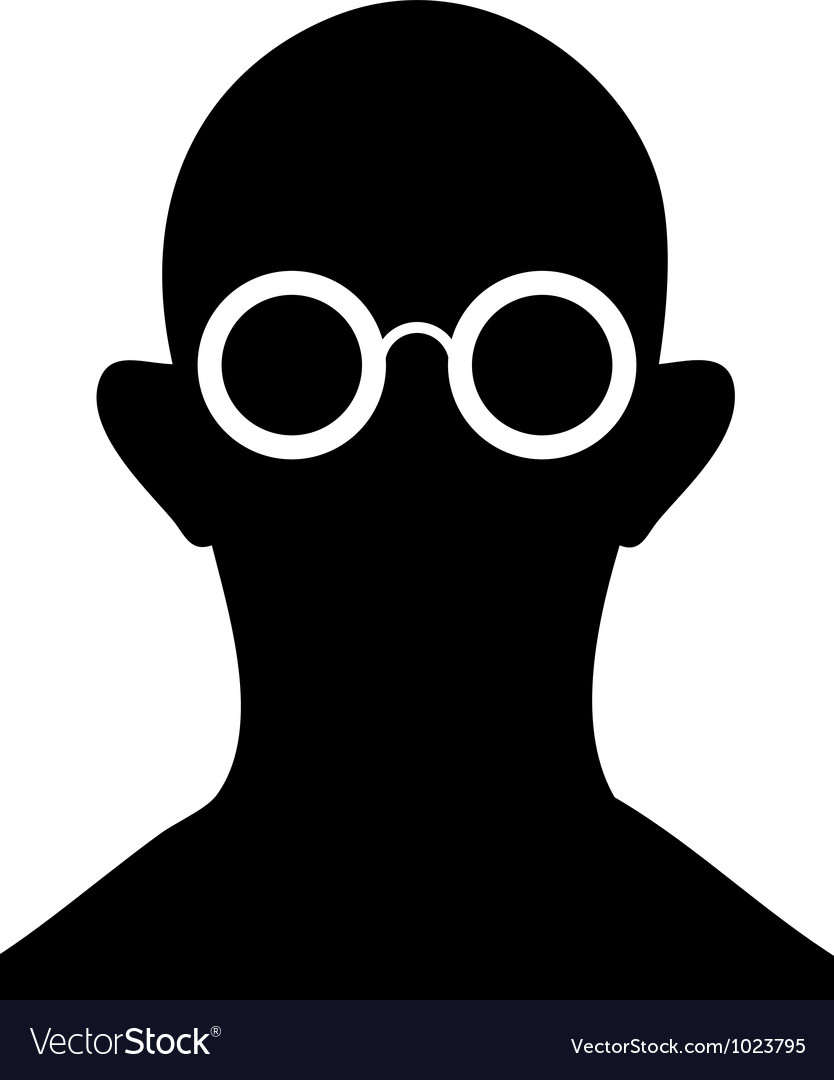 Silhouette of person with eyeglasses vector | Price: 1 Credit (USD $1)