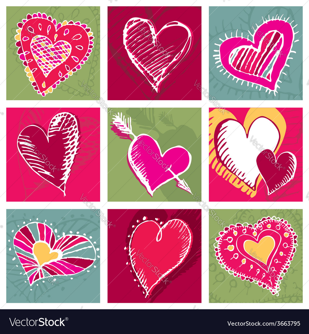 Valentines card with hand draw nine heart vector | Price: 1 Credit (USD $1)