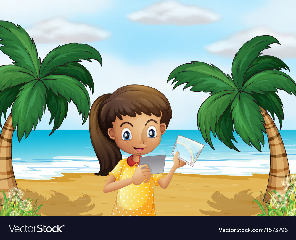 A girl holding pictures at the beach vector | Price: 3 Credit (USD $3)