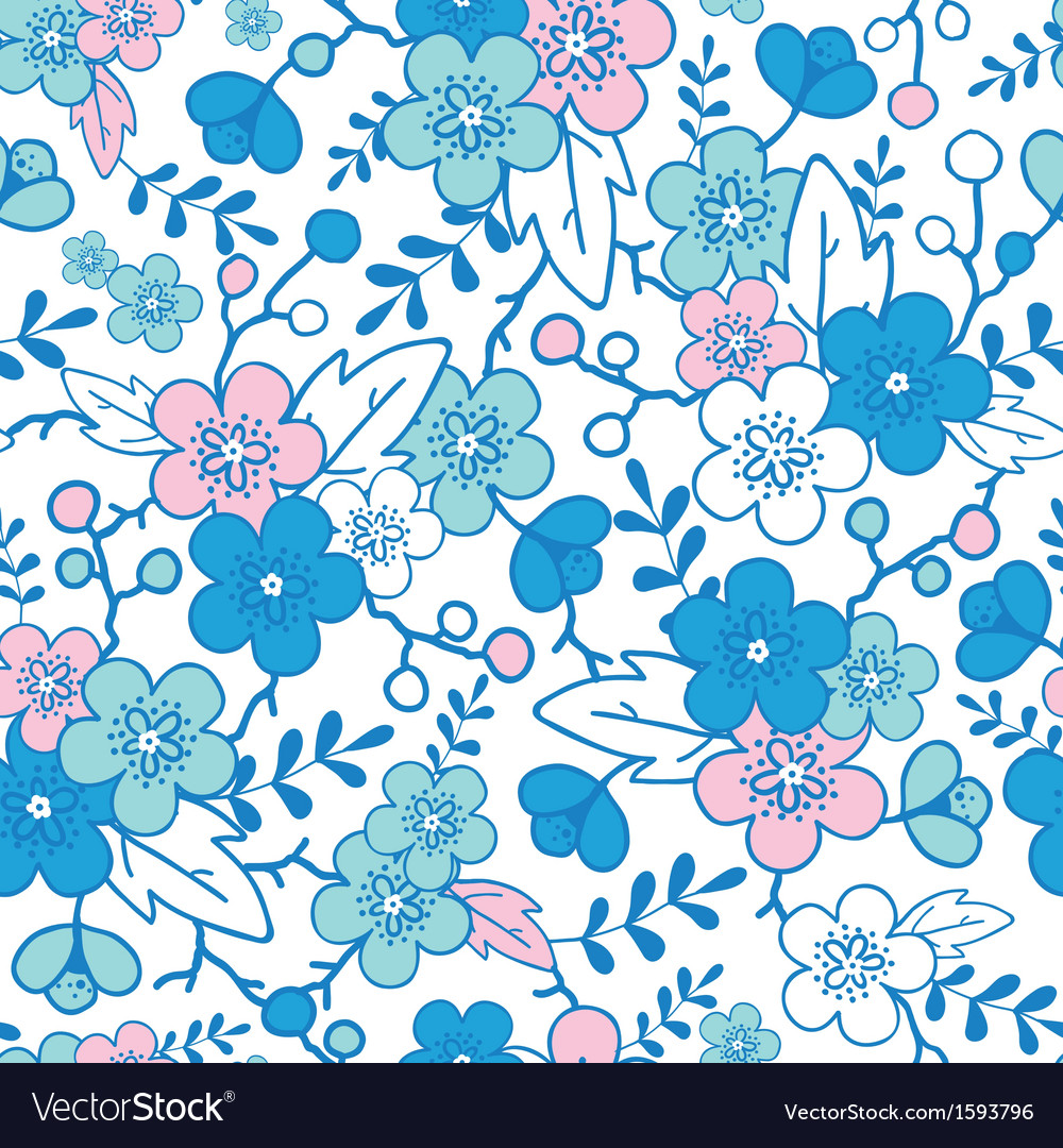 Blue and pink kimono blossoms seamless pattern vector | Price: 1 Credit (USD $1)