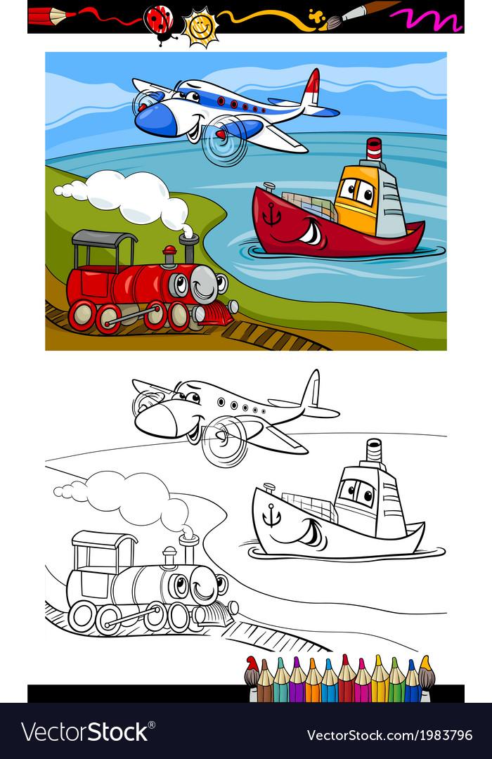 Cartoon plane train ship coloring page vector | Price: 1 Credit (USD $1)