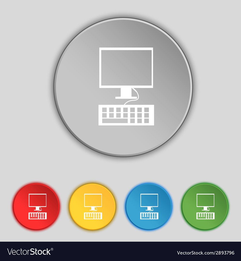 Computer monitor and keyboard icon set colourful vector   Price: 1 Credit (USD $1)